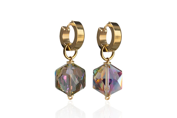 ZANIA IRIDIZED SINGLE STONE EARRINGS WITH CRYSTALS & STAINLESS STEEL HOOPS