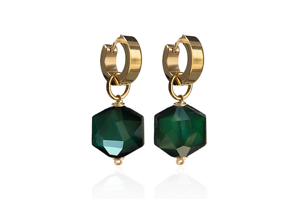 ZANIA GREEN SINGLE STONE EARRINGS WITH SEMI PRECIOUS STONES & STAINLESS STEEL HOOPS