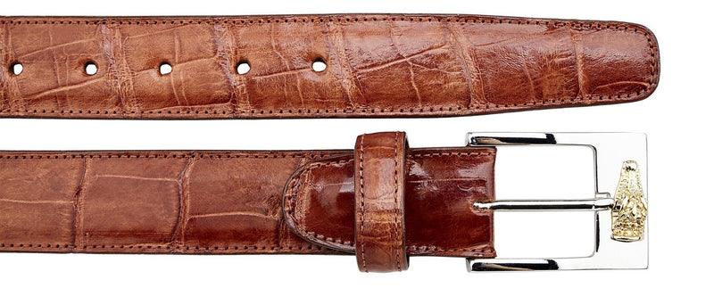 Genuine American Alligator Belt- Cognac