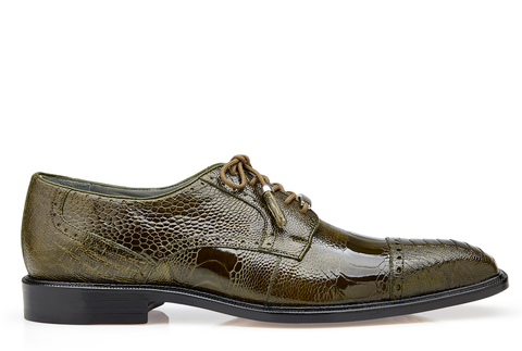 Batta, in Olive Ostrich Cap-toed Derby Dress Shoes Style: 14006