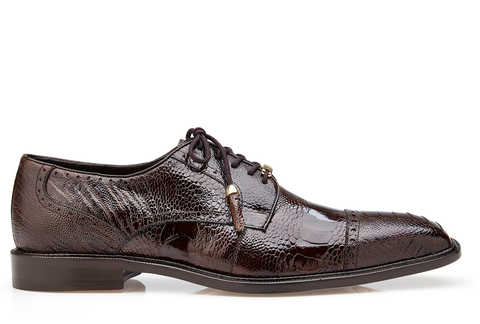 Batta, in Chocolate Ostrich Cap-toed Derby Dress Shoes Style: 14006