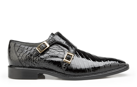 Oscar, in Black Double Monk Strap Alligator Shoes Style: B02