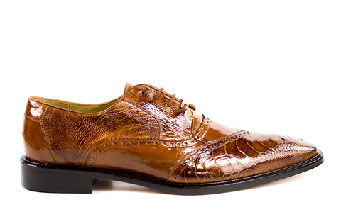 Nino in Antique Camel, Ostrich and Eel Quarter Brogue Derby Dress Shoe, Style: 0B4