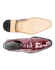 Nino in Antique Red, Ostrich and Eel Quarter Brogue Derby Dress Shoe, Style: 0B4