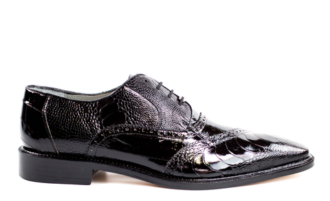 Nino in Black, Ostrich and Eel Quarter Brogue Derby Dress Shoe, Style: 0B4