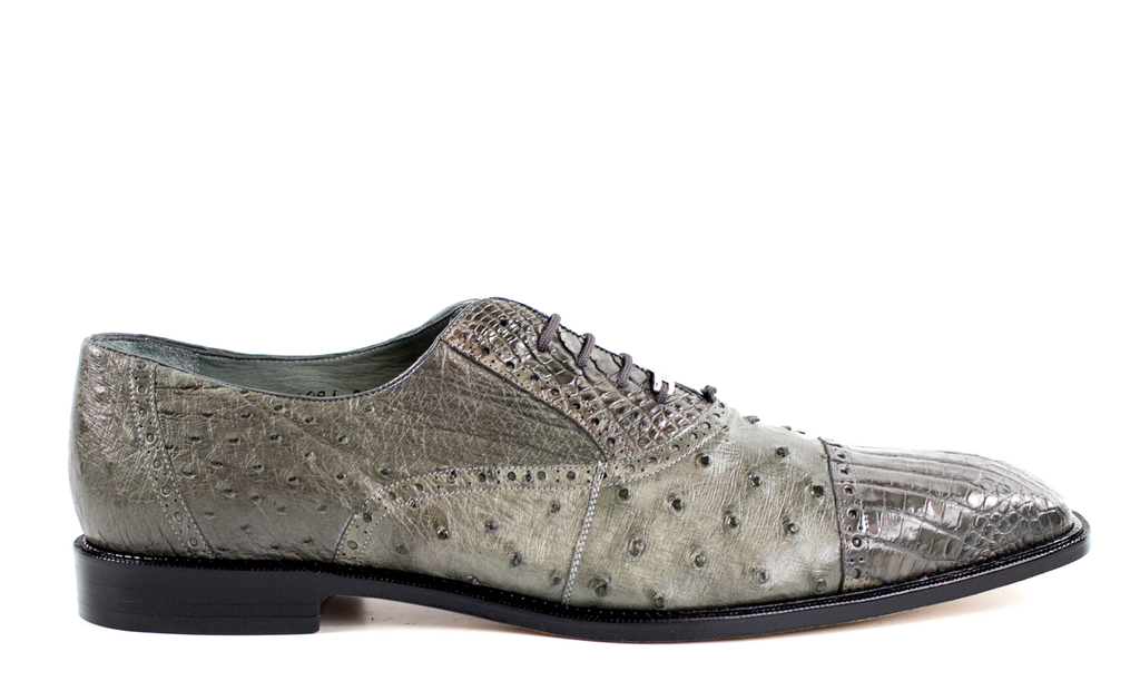 Onesto II, Ostrich and Caiman, Men's Brogued Oxford, Style: 1419