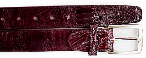 Ostrich Leg Belt- Dark Burgundy