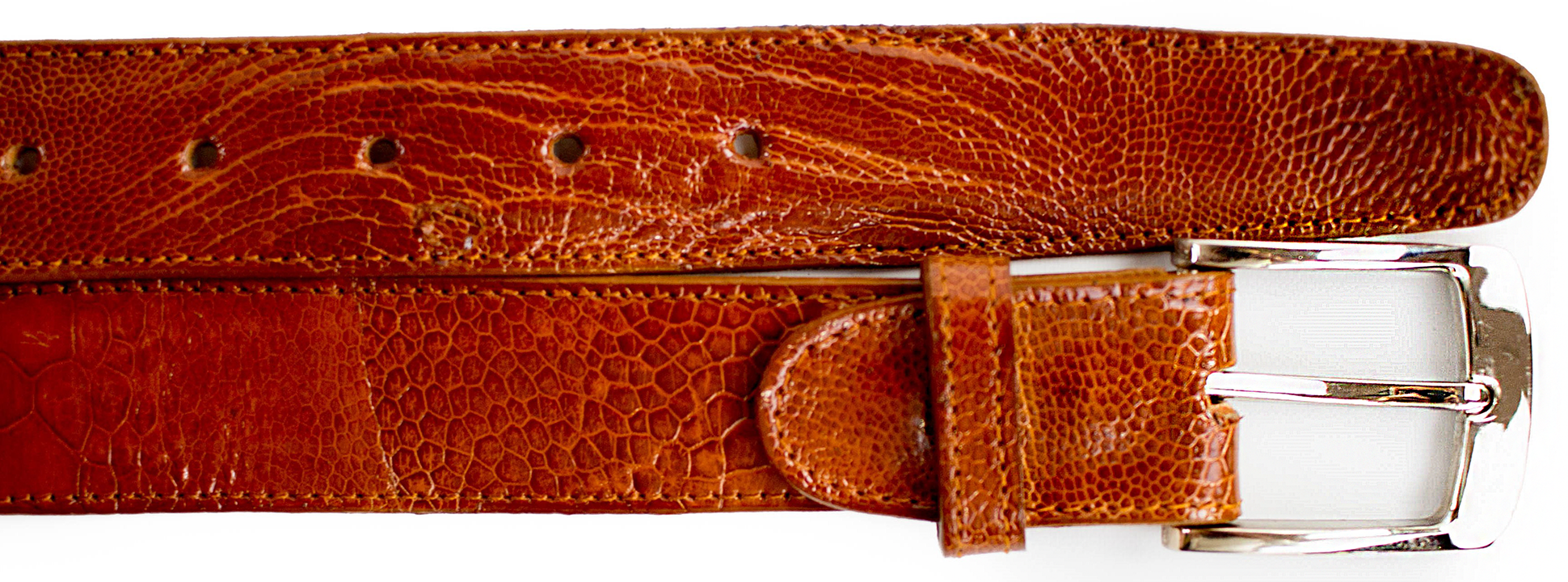 Ostrich Leg Belt- Burned Amber