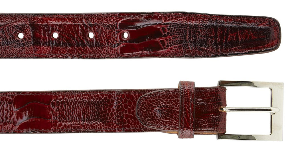 Ostrich Leg Belt- Ant. Scarlet Red
