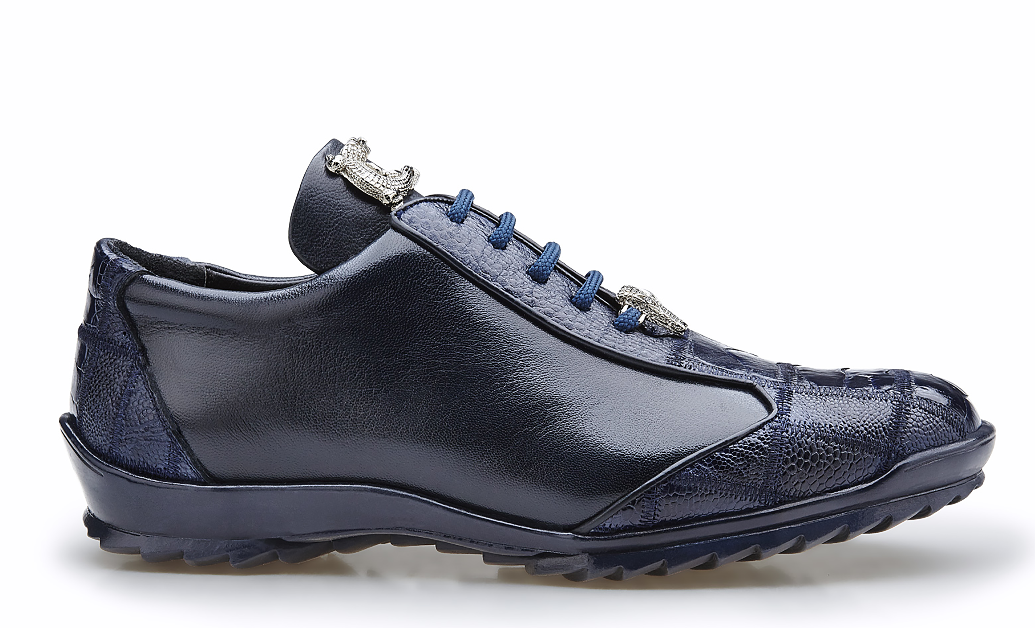 Paulo in Night Blue, Genuine Ostrich and Soft Calf Sneakers, Style: 40486