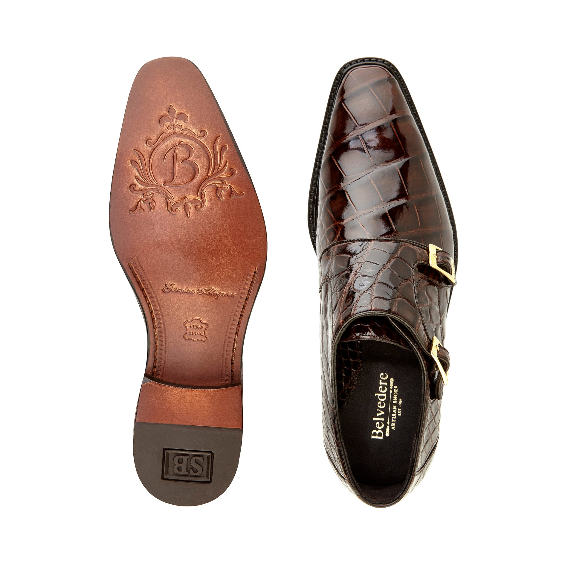 Oscar, in Chocolate Double Monk Strap Alligator Shoes Style: B02