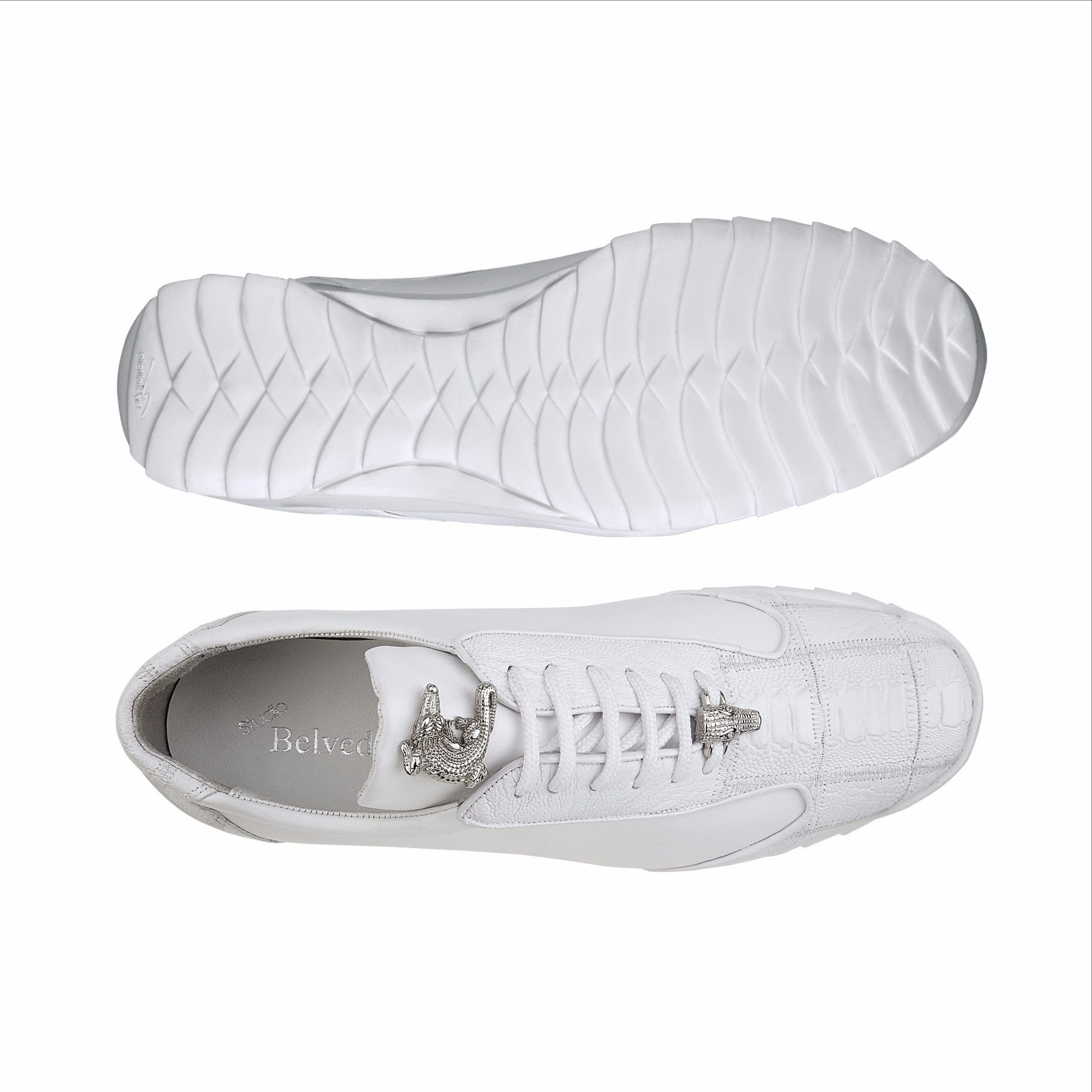 Paulo in White, Genuine Ostrich and Soft Calf Sneakers, Style: 40486