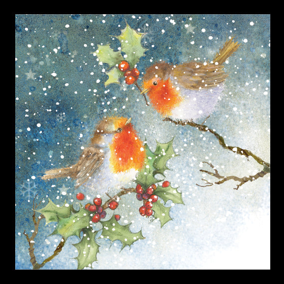 Winter Robins<br> (148mm x 148mm) <br> Prestige Range <BR> Ref K8b19