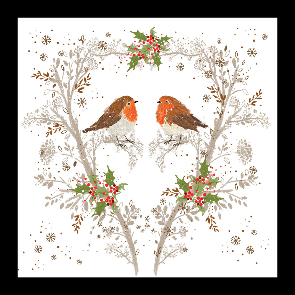 Robins in a Holly Tree