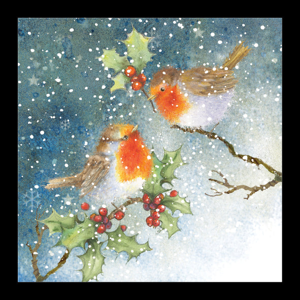 Winter Robins<br> (140mm x 140mm) <br> Value Range<br>Ref KC35c