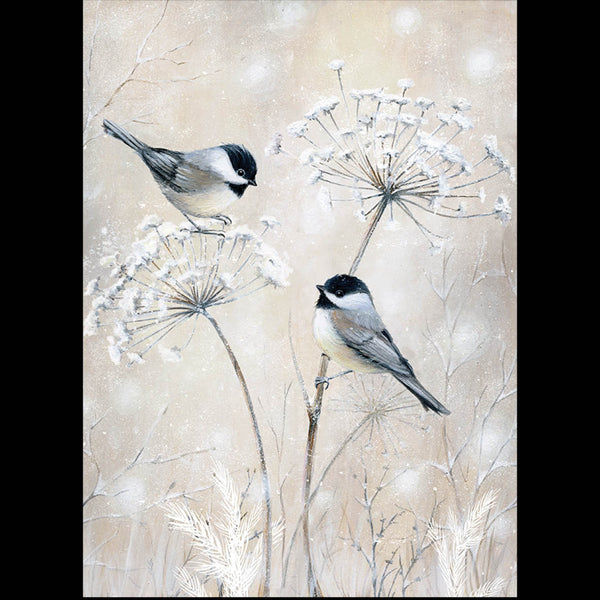 Chickadees and Cow Parsley<br> (116 x 160mm) <br> Value range <BR> Ref KQ12e