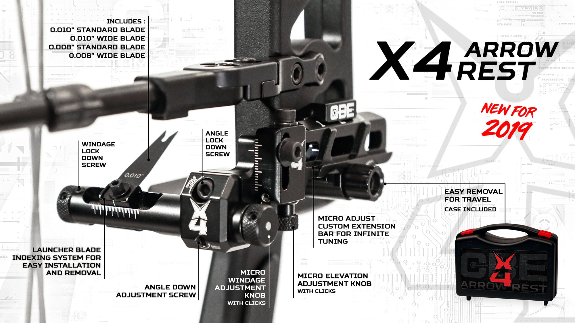 Custom Bow Equipement X4 Arrow Rest with micro adjustments