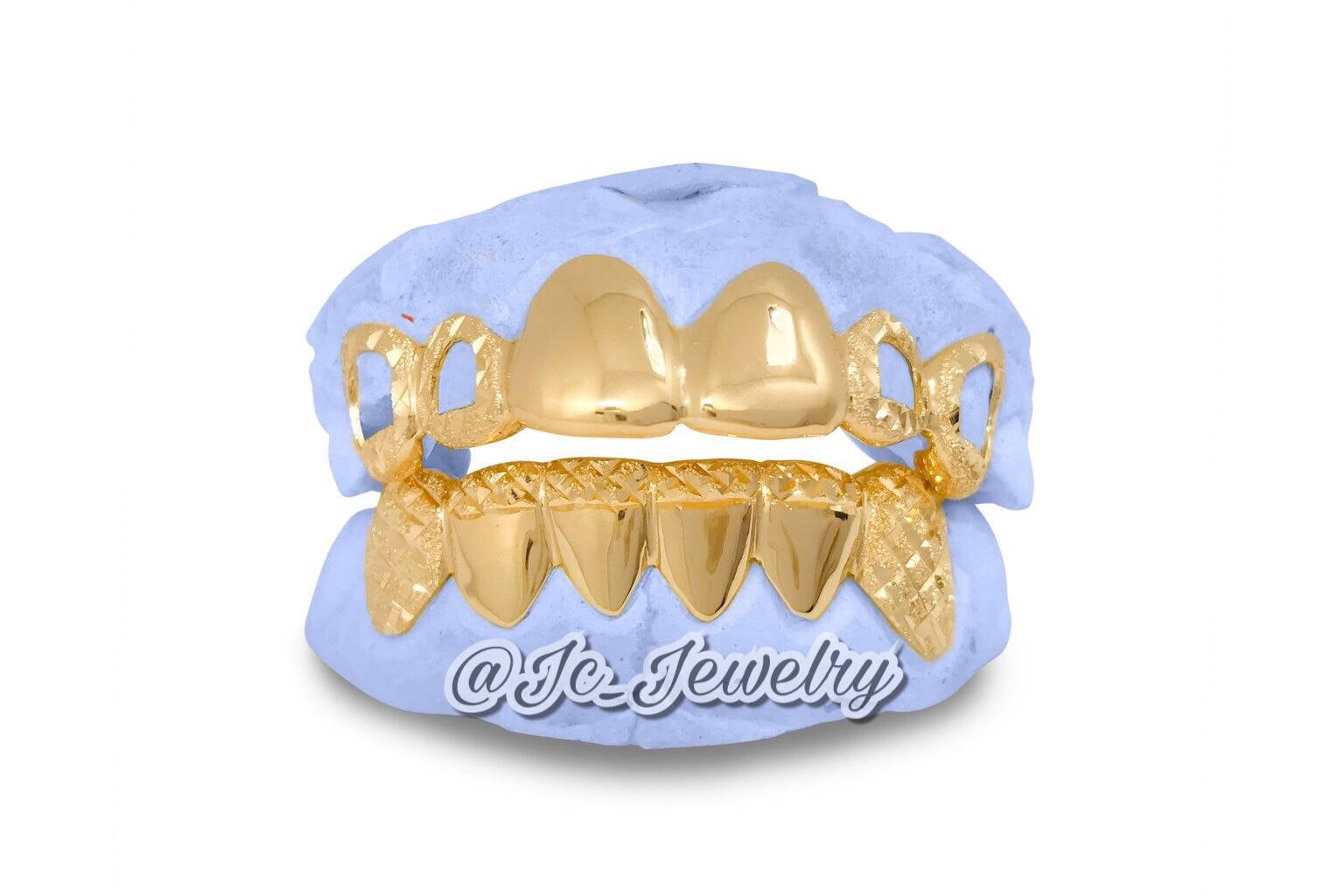 Custom Grillz 6pc Yellow Gold with Open Face