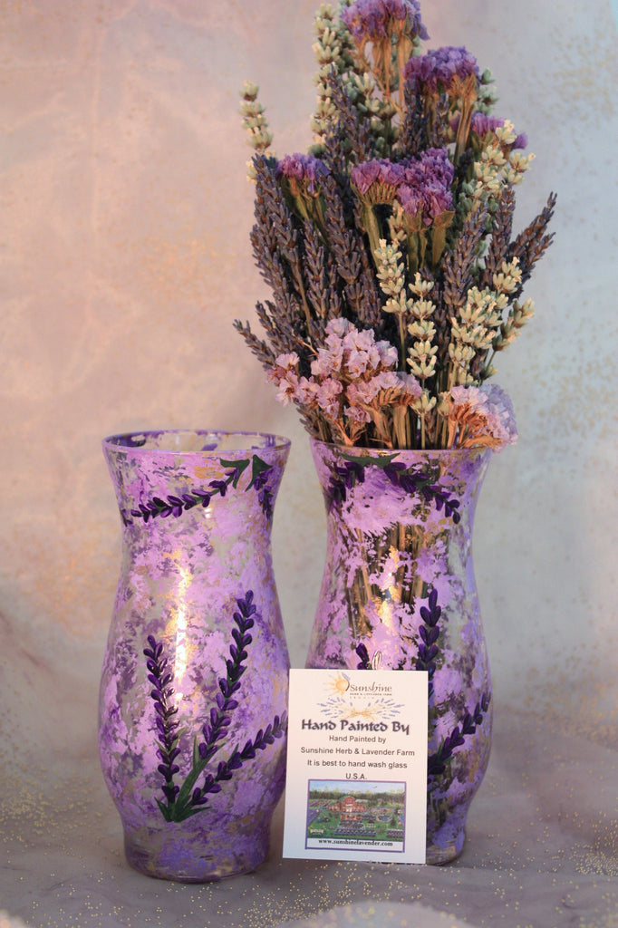 Hand Painted Purple Lavender Vase- small