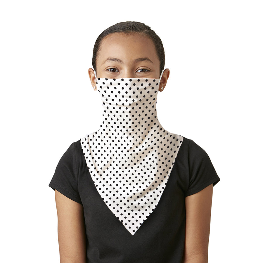 Kid's Mask Scarf Bandana Ivory with Black Polka Dots Mask - Great face mask for school - LIZNA