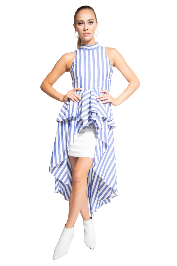 Lola High-Low Top Blue White Stripes - LIZNA