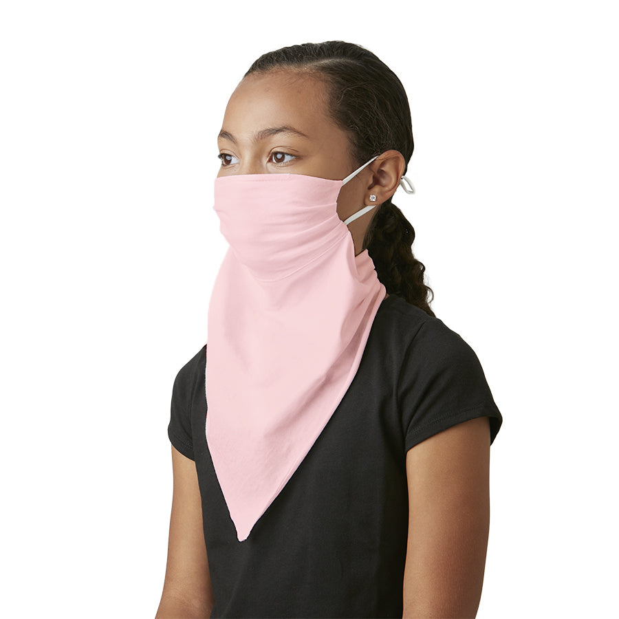 Kid's Mask Scarf Bandana Pink Cotton - Great kid's face mask for school - LIZNA