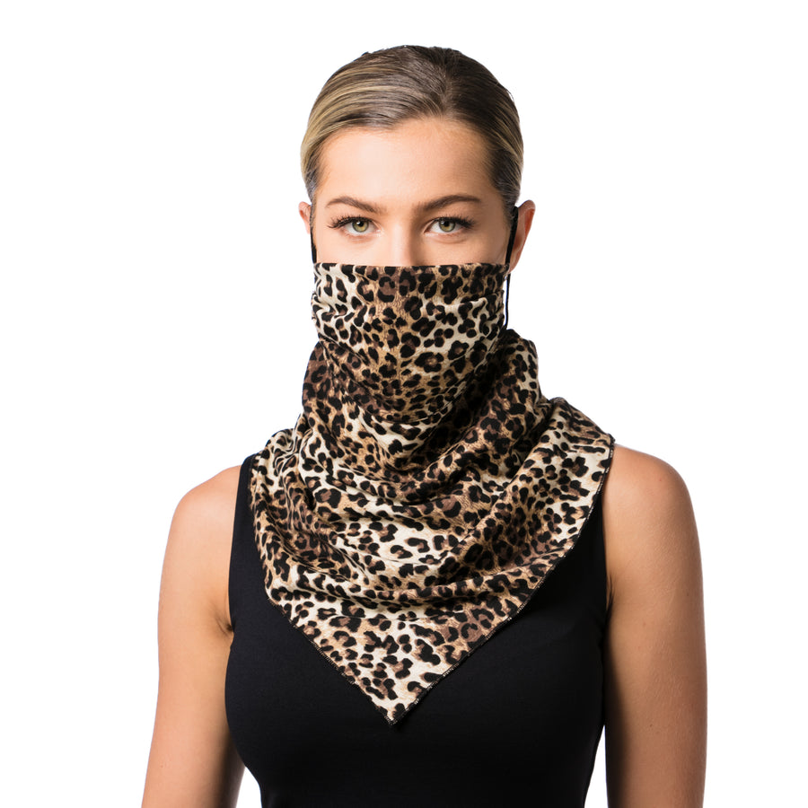 Convertible Fashion Mask Scarf Animal Print Brown - best mask - LIZNA