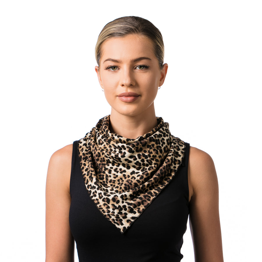 Convertible Fashion Mask Scarf Animal Print Brown - LIZNA