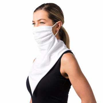 Women's Face Mask Scarf Bandana White Cotton - Breathable, Reusable, Fashionable, and Functional Face Mask - LIZNA