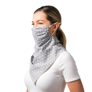 Women's Face Mask Scarf Bandana Grey with White Polka Dots Mask- Breathable, Reusable, Fashionable, and Functional Face Mask - LIZNA