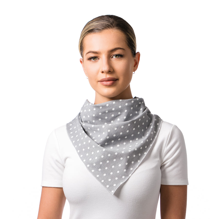 Convertible Mask Scarf Grey White Polka Dots