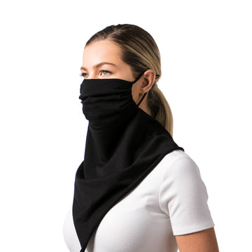Women's Face Mask Scarf Bandana Black Cotton - Breathable, Reusable, Fashionable, and Functional Face Mask - LIZNA