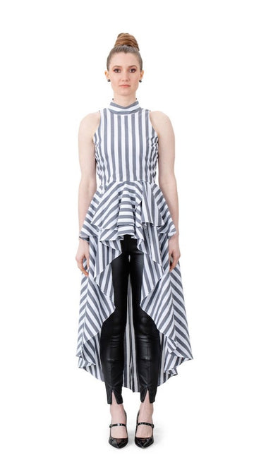 Lola High-Low Top Gray Stripes - LIZNA