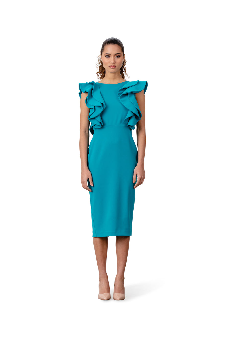 Diane Pencil Dress With Ruffle Sleeve - LIZNA