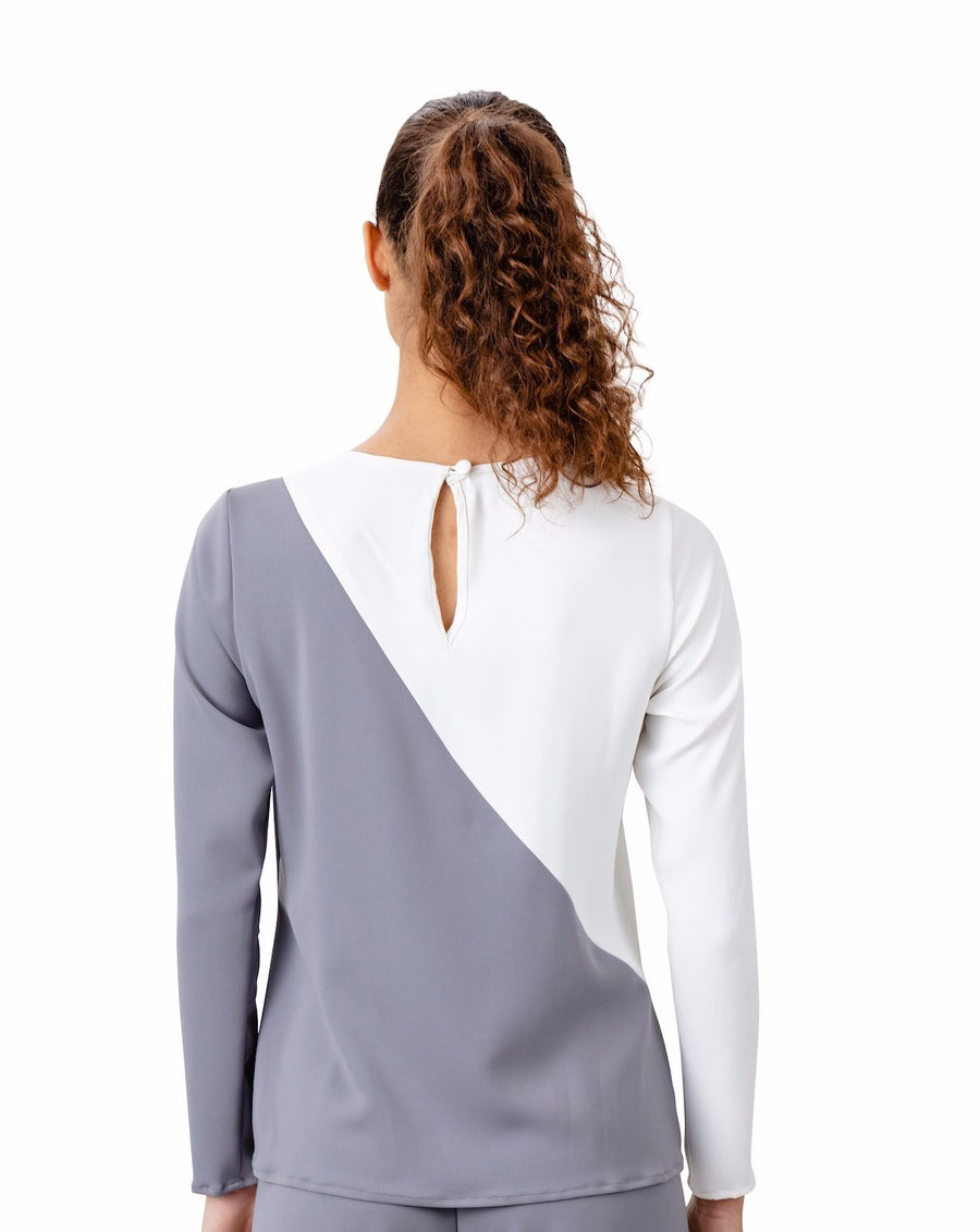 Victoria Cut Out Blouse in Ivory and Grey - LIZNA
