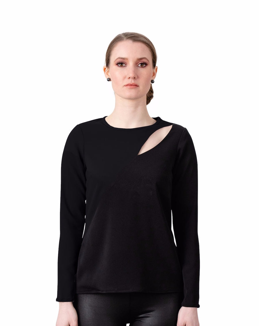 Victoria Cut Out Blouse in All Black - LIZNA