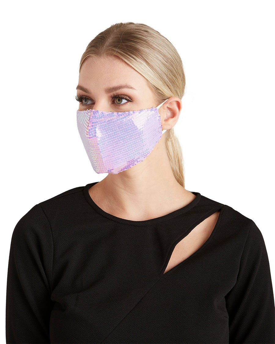 Pink Purple Sequin Face Mask - LIZNA