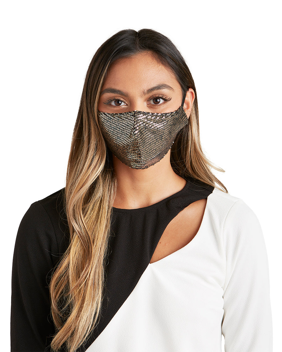 Black Gold Sequin Face Mask - LIZNA