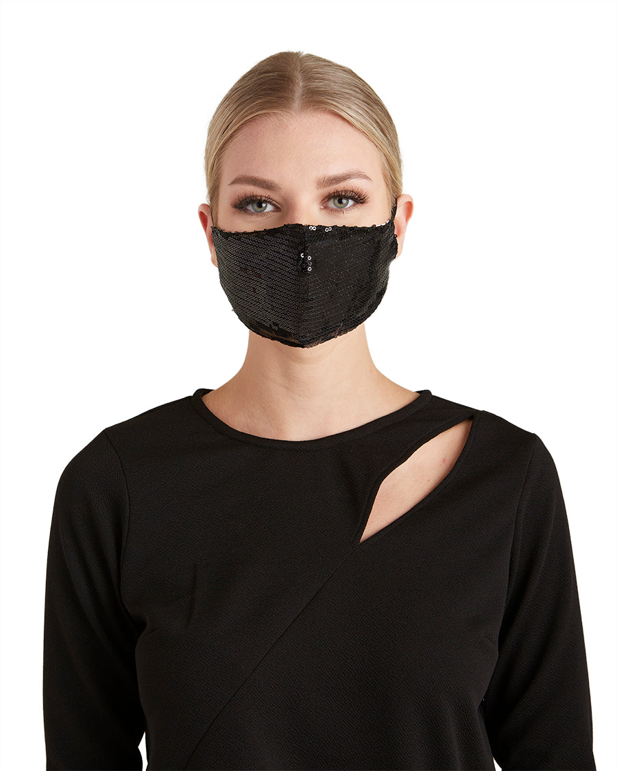 Black Sequin Adjustable Face Mask - LIZNA