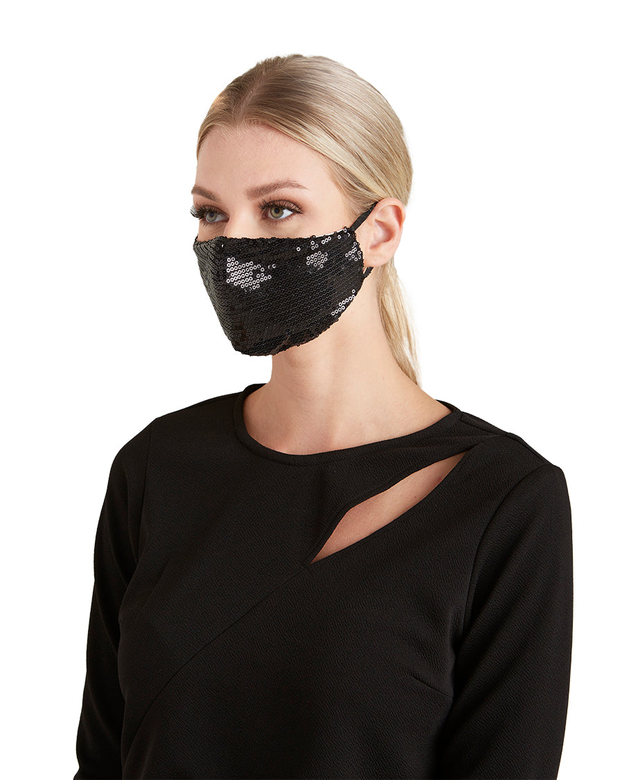 Black Sequin Face Mask - LIZNA