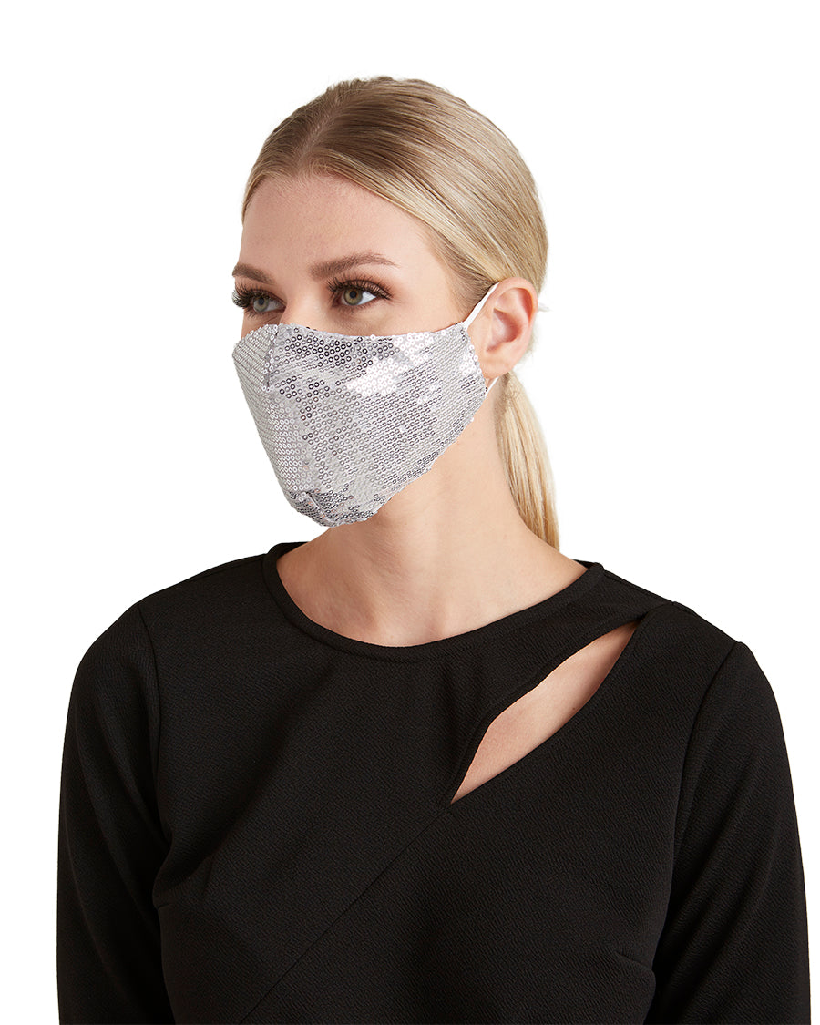 Silver Sequin Face Mask - LIZNA