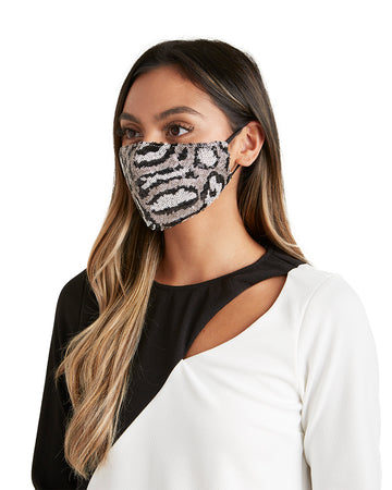 Animal Print Sequin Face Mask - LIZNA