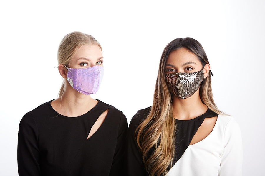 Pink Purple Sequin Adjustable Face Mask - LIZNA