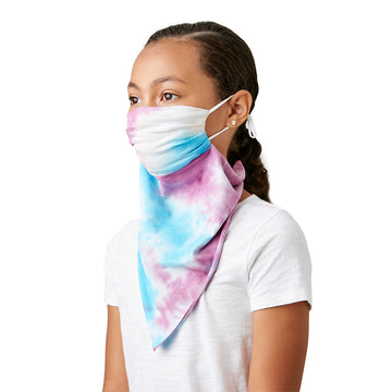 Little Girl's Convertible Fashion Mask Scarf Bandana Tie Dye Pink - LIZNA