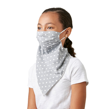 Little Girl's Convertible Fashion Mask Scarf Bandana Grey with White Polka Dots - LIZNA