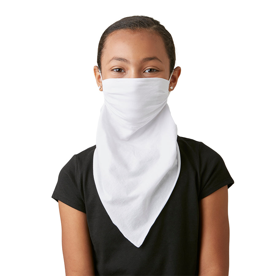 Kid's Mask Scarf Bandana White Cotton - Great kid's face mask for school - LIZNA