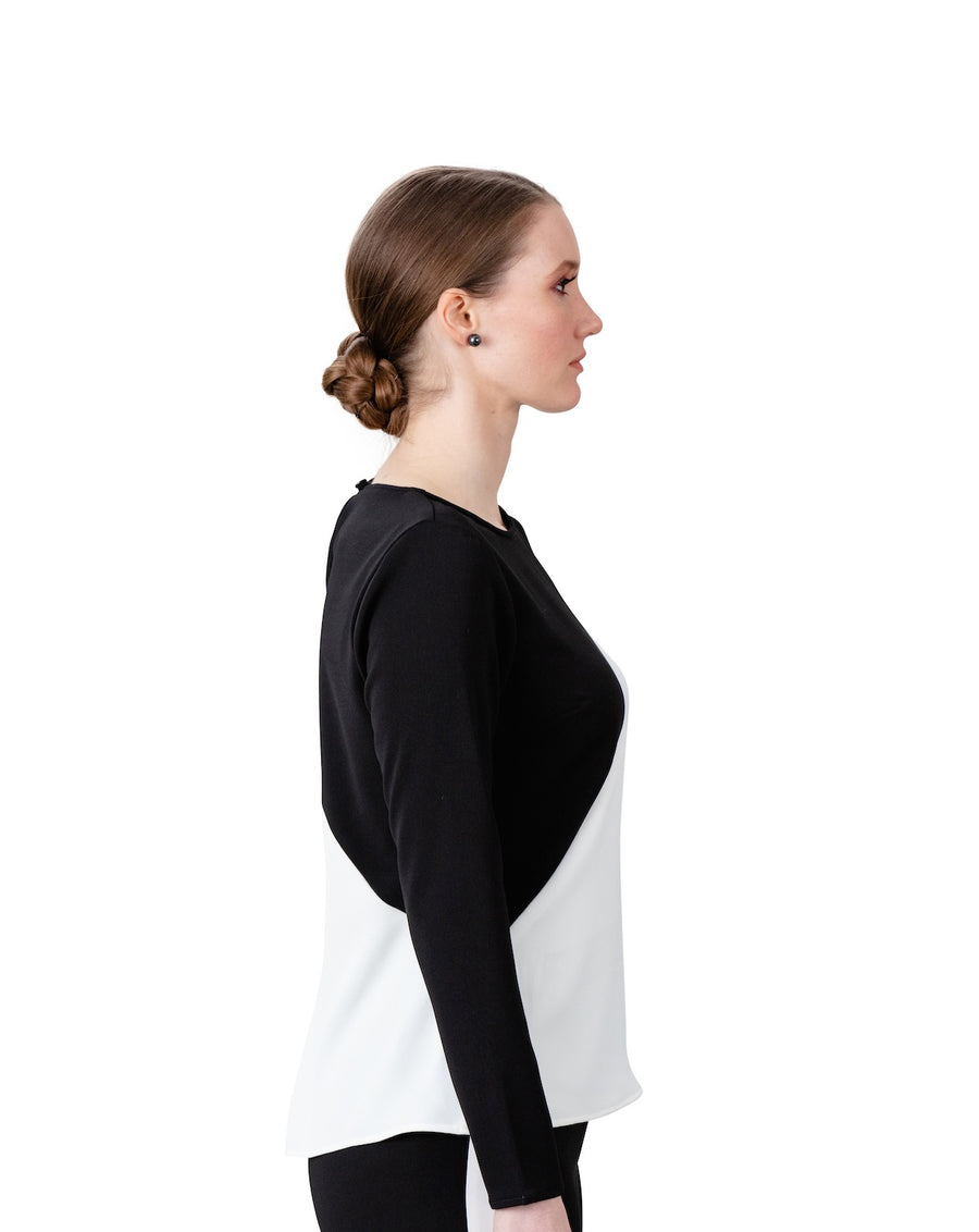 Victoria Cut Out Blouse in Black and Ivory - LIZNA