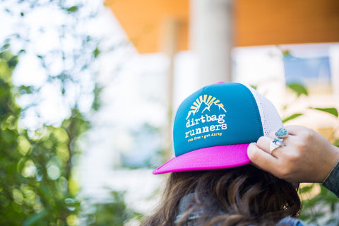 Hot Pink & Teal DBR Tech Trucker Hat Collab w/ Territory Run Co.