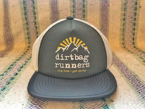 *PRE-ORDER DELIVERS IN MAY* Grey & Dark Green DBR Tech Trucker Hat Collab w/ Territory Run Co.