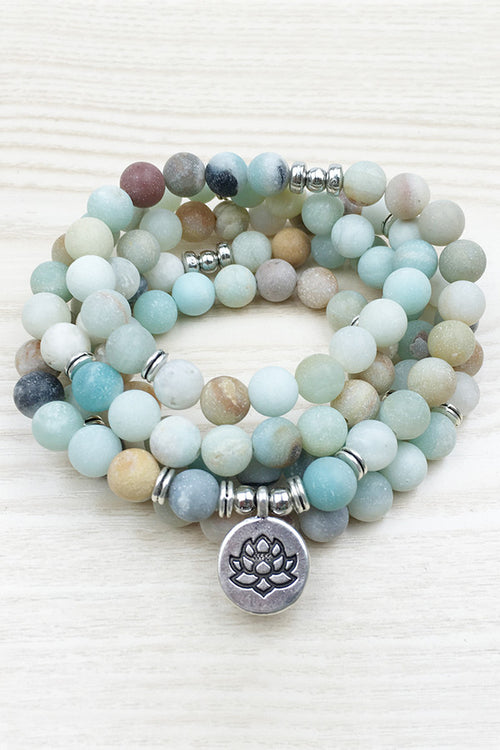 Amazonite Lotus Yoga Mala